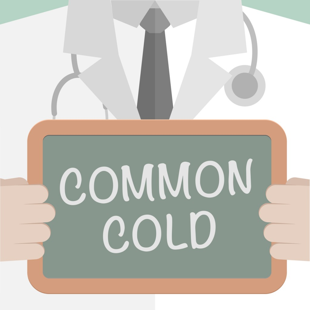 A minimalistic illustration of a doctor holding a blackboard with Common Cold text.